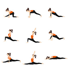 Monkey pose sequence yoga asanas set vector