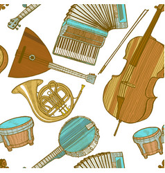 musical instrument pattern in hand drawn style vector image