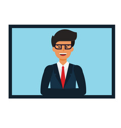 online businessman presentation cartoon flat vector image