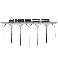 openwork bridge and locomotive vector image