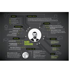 original blue minimalist cv resume template vector image