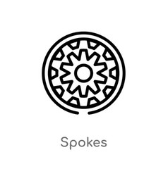 Outline spokes icon isolated black simple line vector