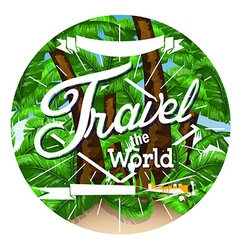 Palm tree travel background vector