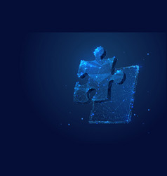 puzzle and tablet low poly blue vector image