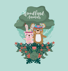 Rabbit and bear woodland animals vector
