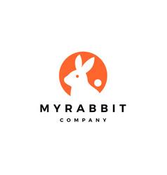rabbit circle round negative style logo icon vector image