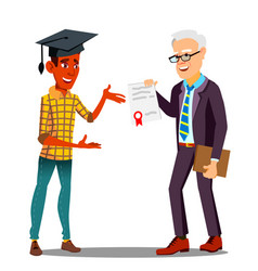rector presenting diploma to happy student in vector image