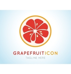 Red grapefruit stylish icon Juicy fruit logo vector image