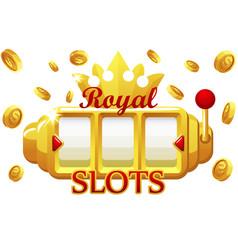 royal gold slot machine jackpot bonus coins vector image