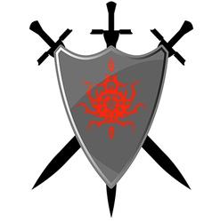 Safety Sword Symbol Board Element Emblem Safety Wh vector image