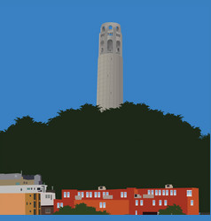 san francisco coit tower vector image