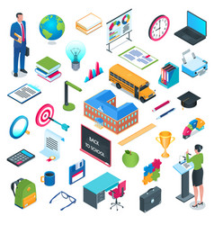 school and education isometric icon set vector image