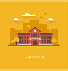 School building on orange background vector