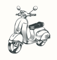 scooter moped drawn in black ink vector image