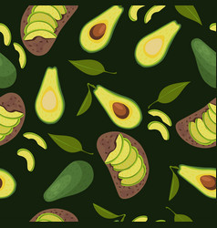 Seamless avocado pattern avocados and sandwiches vector