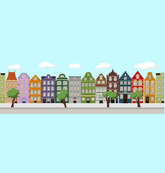 seamless border of cute retro houses exterior vector image