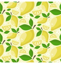 Seamless pattern of ripe juicy lemons with leaves vector image