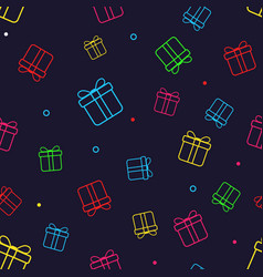 seamless pattern with colorful gift boxes paper vector image
