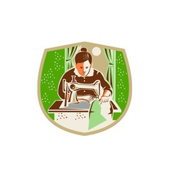 Seamstress Dressmaker Sewing Shield Retro vector