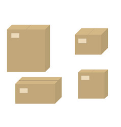 set brown cardboard boxes closed carton box vector image