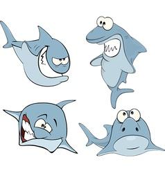Set of cute sharks for you design Cartoon vector