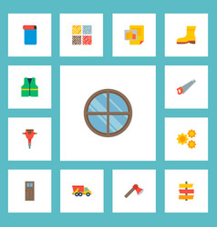 set of industrial icons flat style symbols with ax vector image
