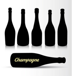 set of silhouettes champagne bottles vector image