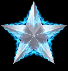 Silver star surrounded by blue fire vector
