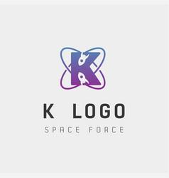Space force logo design k initial galaxy rocket vector