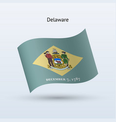 State of delaware flag waving form vector