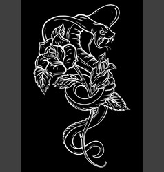 tattoo with rose and snake traditional black dot vector image