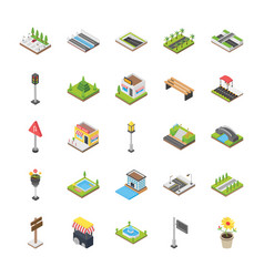 Urban elements icons vector
