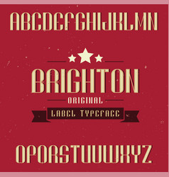 vintage label font named brighton vector image