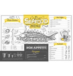 Vintage seafood menu design restaurant menu vector