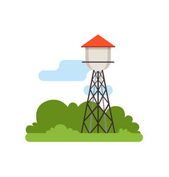 Water tower farm building countryside life vector