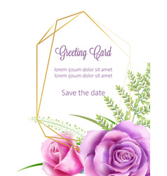 Watercolor wedding card with rose flowers and vector