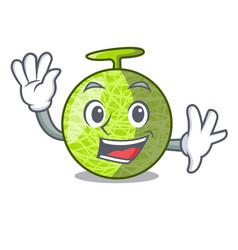 Waving fresh organic melon in the cartoon vector