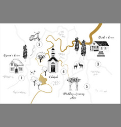 Wedding card with map vector