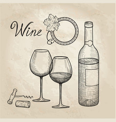 wine set wine glass bottle grape branch vector image