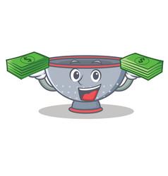 With money colander utensil character cartoon vector