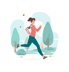 Woman running during fitness training in park vector
