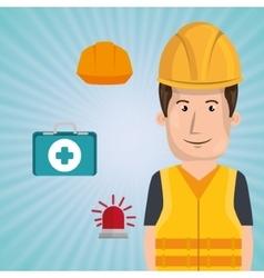 Worker kit aid helmet icon vector