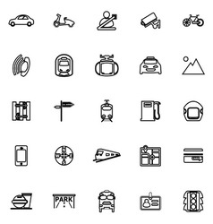 Land transport related line icons on white vector image