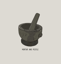 mortar and pestle in a wreath of spices and herbs vector image vector image