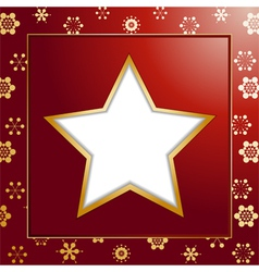Red christmas star background and border vector image vector image