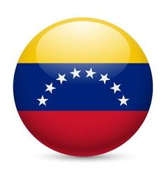 Round glossy icon of venezuela vector
