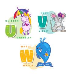 alphabet children colored letter u v w vector image