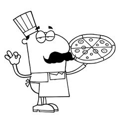 Cartoon pizza chef vector image vector image