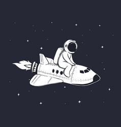 cute astronaut flies on shuttle in outer space vector image vector image