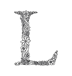 Letter L coloring book for adults vector image